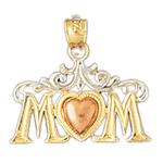 14k tri color gold mom charm