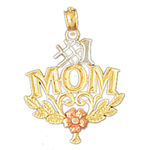 14k tri color gold #1 mom pendant