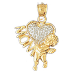 14k two tone gold heart, angel and mom pendant
