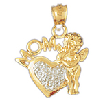 14k two tone gold angel, heart and mom pendant