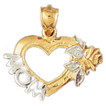14k two tone gold heart and mom pendant