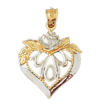 14k two tone gold mom in heart pendant