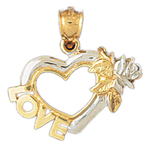 14kt two tone gold love and heart pendant