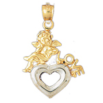 14k two tone gold baby angel with love heart pendant