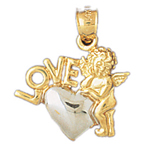14k two tone gold love heart with baby angel pendant