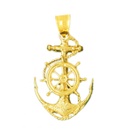 14k gold sailor rope, ship wheel and anchor pendant