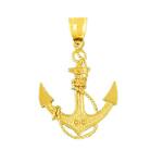 14k gold sailor rope and anchor pendant