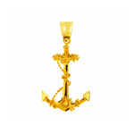 14k gold 3d ship anchor with sailor rope pendant