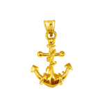 14k gold ship anchor and rope charm