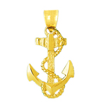 14k gold ship anchor with sailor rope pendant
