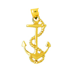 14k gold 28mm ship anchor with sailor rope pendant