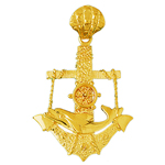 14k gold dolphin and anchor pendant with moveable wheel