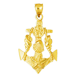 14k gold ship anchor with seashells accent pendant