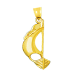 14k gold catboat sailboat pendant