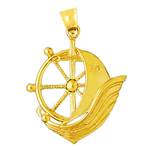 14k gold ship wheel catboat pendant