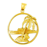 14k gold cruise ship and island with palm tree pendant