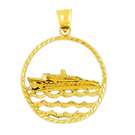 14k gold cruise ship and waves medallion