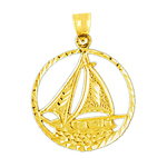 14k gold encircle sailboat pendant