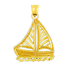 14k gold filigree sailboat charm