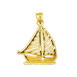 14k gold cut-out sailboat charm