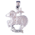 14k white gold zodiac aries pendant