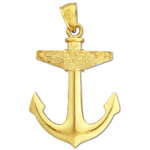 14kt gold mariner ship anchor pendant