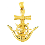 14k gold ship wheel and anchor nautical pendant