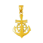 14k gold cross, ship wheel and anchor pendant
