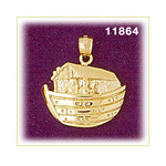 14k gold 20mm noah's ark pendant