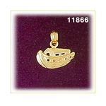 14k gold noah's ark with animals charm