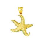 14k gold sculpted starfish charm