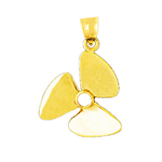 14k gold ship propeller pendant