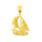 14k gold 30mm sailboat pendant