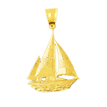 14k gold ketch sailboat pendant