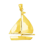 14k gold single sloop sailboat pendant