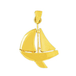 14k gold 24mm single sloop sailboat pendant