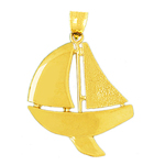 14k gold sloop sailboat pendant