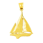 14k gold 30mm ketch sailboat pendant