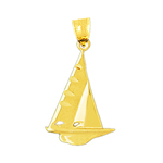 14k gold ketch sailboat charm