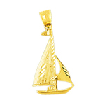 14k gold single mast sailboat charm