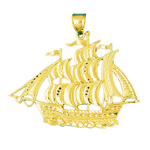 14k gold three masted sailing ship pendant