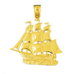 14k gold three masted 32mm sailing ship pendant