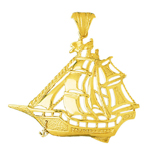 14k gold pirate ship pendant