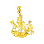 14kt gold sailing ship pendant