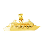 14kt gold yacht cruise ship pendant