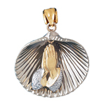 14k two tone gold praying hands shell pendant