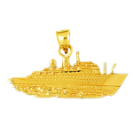 14kt gold luxury cruise ship making waves pendant