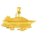 14k gold ocean cruise ship making waves pendant