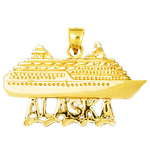 14k gold alaska cruise ship pendant