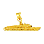 14k gold freight ship pendant